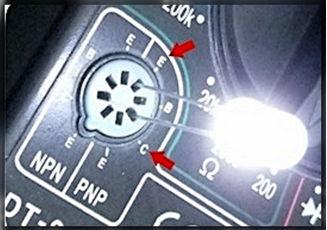 диод вставленный в пазы колодки для транзисторов мультиметра