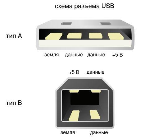 Схема разъема USB