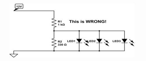 Схема подключения светодиода на 12В в более сложных и мощных устройствах
